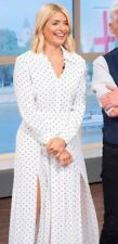 Topshop Pleated Spot Shirt Dress - White UK SIZE 6 BNWT