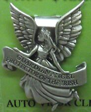 Irish Guardian Angel Protector of the Irish Auto Visor Clip in Solid Pewter, NEW