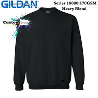 Gildan Black Heavy Blend Basic Sweat Sweater Jumper Sweatshirt Mens S -5XL