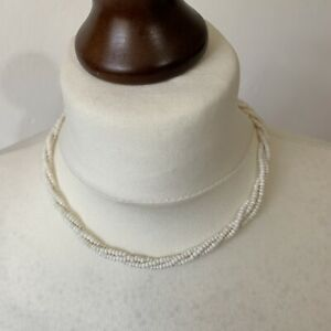 """Vintage Collar Length Seed Beaded Necklace White Beads Twisted 17"""" Retro"""