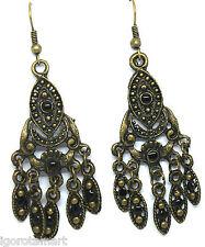 2 Pcs Women's Antique Bronze Bohemian Boho Style Drop Dangle Ear Stud Earrings