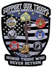 Support Our Troops Medium Military Veteran POW-MIA Patriotic Biker Patch