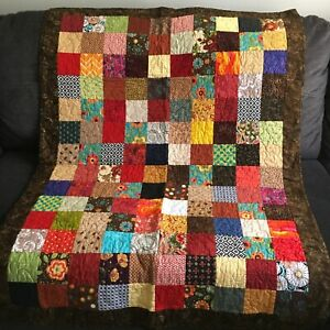 Handmade Vibrant Colorful Patchwork Postage Stamp Style Quilted Throw Blanket