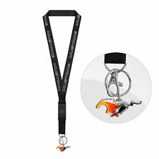 Ford Mustang Black Lanyard with Flame Pony Key Charm Keychain Key Chain Official