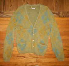 Vintage 50s 60s Green Blue Argyle 40 M Cardigan Sweater Mod Beatnik Mr Rogers