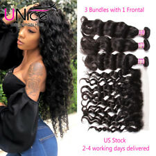 Brazilian Natural Wave 3 Bundles Human Hair Wefts With 13x4 Lace Frontal Closure