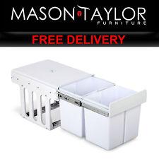 Mason Taylor Kitchen Set of 2 15L Twin Pull Out Bins - White POT-BIN-15L-SET-WH