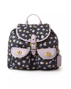 NWT COACH Vintage Rose Print Nylon Cargo Backpack Midnight Navy Floral