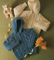 "Baby Girls Boys Aran Jacket with Hood and Sweater Knitting Pattern  20-28""1150"