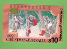 #D175. CHRISTMAS 1992 $10 AUSTRALIAN USED PHONECARD