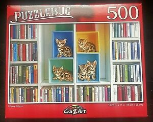 Puzzlebug 500 Piece Puzzle Library Kittens 18.25 inches X 11 inches