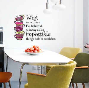 CLR:WALL Alice in Wonderland Believe Impossible Things Quote - Wall Decal  ©YYDC