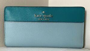 New Kate Spade New York Staci Large Slim Bifold wallet Frost Spearmint