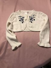 Nwot Janie & Jack Girls Cropped Sweater Sz 2 White Blue Embroidered Flowers