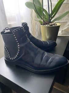 Zara Faux Leather Navy/black Ankle Boots With Studs Size 5/38