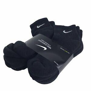 NIKE Youth Everyday Cushioned Ankle Socks 6 PAIRS Black Size 5-7 NEW