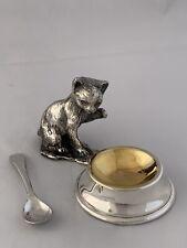 LARGE SIZED Silver Plated CAT or KITTEN Salt Cellar & Salt Spoon SHEFFIELD