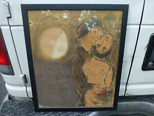 """Couple en Ocre by Marc Chagall Lithograph Artist Proof Print 1950's  24"""" x 20"""""""