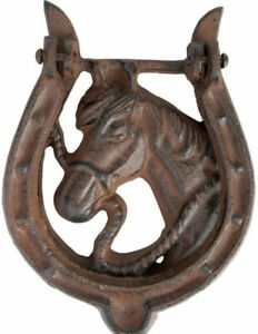 New Cast Iron Rustic Antique Style Horse Shoe Door Knocker Feature Farm Country