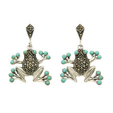 Sterling Silver Marcasite Frog Earrings with Turquoise Eyes and Toe Pads