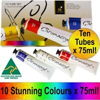New CHROMACRYL Acrylic Paint 10 Tubes x 75ml Boxed Set Painting Artists Art Pack