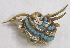 Vtg Jewelry CARVEN Signed Brooch Faux Turquoise Beads Rhinestones Goldtone