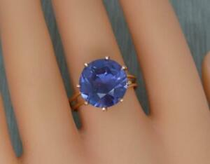 Vintage 14ct Rose Gold Ring Synthetic Colour Change Alexandrite /Corundum Ring