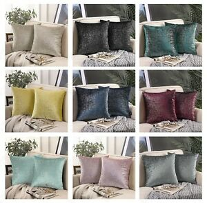 1 Cushion cover decorative sofa shimmer silver foil printed covers 18inch 45cm