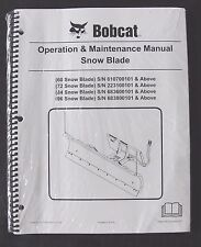 Bobcat Skid Steer Loader 60 72 84 96 Snow Blade Operators Manual Sealed