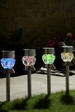 New Pack Of 4 Crystal Solar Lights Multicolored 2 In 1 Glass Garden Patio