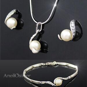 Schmuck Set mit Perlen & Swarovski Elements Silber 925 Anhänger Ohrsteck Amrband