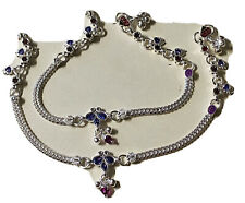 New PAIR STERLING SILVER payal PURPLE crystals BELLS ANKLET BOLLYWOOD INDIA