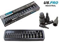 "US PRO INDUSTRIAL 15pc 1/4"" 3/8"" 1/2"" Impact Torx Bit Socket Sockets Set 3439"