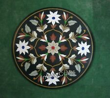Handmade Floral Art Inlaid Marble Coffee Table Top Round Dining Table 30 Inches