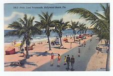 VINTAGE HOLLYWOOD BEACH, FL  PALM LINED PROMENADE  LINEN PC IN UNUSED NM/MT