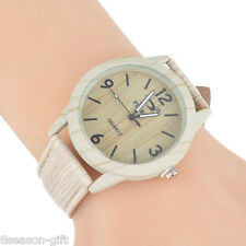 GIFT Women Imitation wood-grain Leather Band Lover Watch Wristwatch