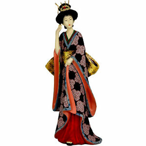 "Oriental Furniture 14"" Geisha Figurine w/ Ivory Flower Sash"
