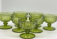 Vintage Set of 7 Indiana Green Glass Whitehall Cube Footed Dessert Cups Dish