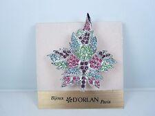 with Pastel Swarovski Crystals 0218 D'Orlan Rhodium Plated Maple Leaf Brooch