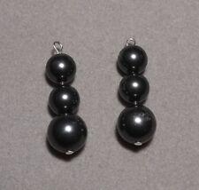 8.0 & 10.0 mm BLACK Pearls Incl. 'Mix 'n' Match' earring hooks  (8209)