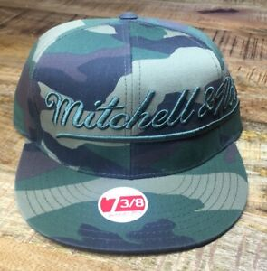 Mitchell & Ness Camouflage Army Fatigue Fitted Cap Green & Brown Hat 7-3/8