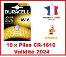 10 Piles CR-1616 DURACELL bouton Lithium 3V DLC 2024
