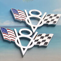 2X Chrome Metal V8 Flag Emblem Badge Sticker For Chevrolet Chevy Corvette Camaro