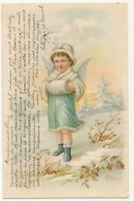 German illustrated postcard 1903 - little girl cherub in Winter clothes