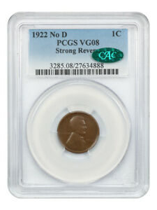 1922 no D Strong Reverse 1c PCGS/CAC VG-08 BN (Die Pair 2) - Lincoln Cent