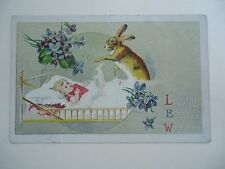 Vintage Embossed Postcard  Loving Easter Wishes Rabbit tucking in child w/ bunny