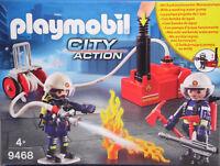 PLAYMOBIL 9468 9468 Feuerwehrmänner mit funktionierender Wasser-Löschpumpe NEU