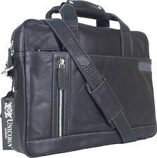 """UNICORN Réal en cuir 16.4"""" Laptop, Ordinateur Portable Sac Messager Noir #8E"""