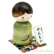Lovely Japanese Kokeshi Doll YANCHA (BOUNCY) by Usaburo w/gift #126