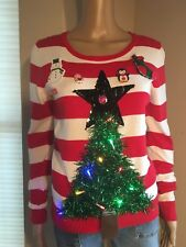 ~Ugly Christmas Sweater RED/WHITE striped LIGHTS UP Green Tree Women's S/P~
